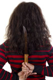 Young woman holding a large knife Stock Image