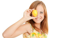 Young woman holding lemon Stock Images