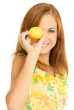 Young woman holding lemon Royalty Free Stock Image