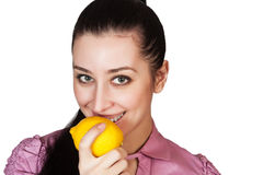 Young woman holding lemon Royalty Free Stock Photo