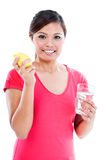 Young Woman Holding Lemon And Glass Royalty Free Stock Photography
