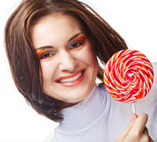 Young woman holding lolly pop. Stock Photo