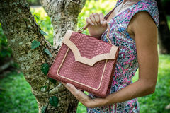 Young woman holding a luxury handmade snakeskin python handbag. Sunny day. Expensive clutch. Close up of woman hands. Young woman holding a luxury handmade Stock Photography