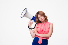 Young woman holding megaphone Stock Photo
