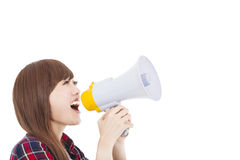 Young woman holding megaphone Royalty Free Stock Photo