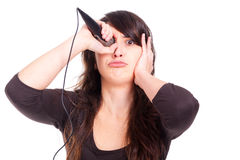 Young woman holding a microphone Royalty Free Stock Photo