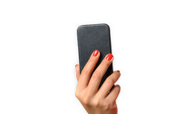 Young woman holding a mobile phone Stock Image