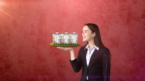 Young woman holding modern condominium on the open hand palm, over isolated studio background. Business concept. Portrait of young beautiful longhair woman stock image