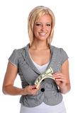 Young Woman Holding Money Royalty Free Stock Images