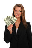 Young Woman Holding Money Royalty Free Stock Photos