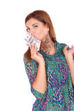 Young woman holding money in the hand Royalty Free Stock Images