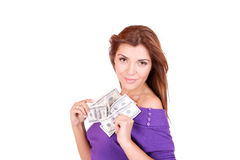 Young woman holding money in the hand Royalty Free Stock Photos