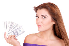 Young woman holding money in the hand Stock Photo