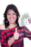 Young woman holding money in the hand. On white background Royalty Free Stock Photo