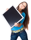 Young woman is holding monitor Stock Photo