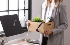 Young woman holding moving box with office stuff indoors. Closeup royalty free stock images
