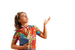 Young woman holding a notebook. Modern looking young woman holding a notebook Royalty Free Stock Image