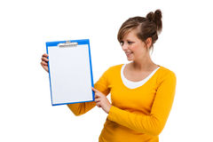 Young woman holding notepad Royalty Free Stock Photo
