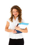 Young woman holding notepad Stock Photo