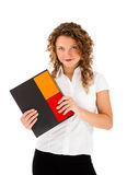 Young woman holding notepad Stock Images