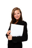 Young woman holding notepad Royalty Free Stock Photography