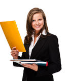 Young woman holding notepad Royalty Free Stock Images