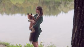 Young woman is holding orange fox, standing by riverbank on summer day. stock video footage