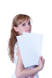 Young woman holding A4 paper Royalty Free Stock Photography
