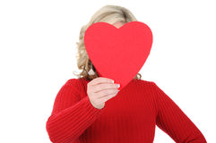 Young Woman Holding a Paper Heart 01 Royalty Free Stock Photos