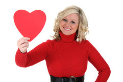 Young Woman Holding a Paper Heart 02 Royalty Free Stock Photo