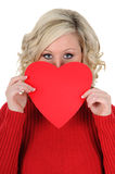 Young Woman Holding a Paper Heart 03 Royalty Free Stock Photo