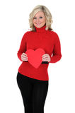 Young Woman Holding a Paper Heart 04 Royalty Free Stock Images
