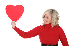 Young Woman Holding a Paper Heart 05 Royalty Free Stock Images