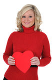 Young Woman Holding a Paper Heart 06 Stock Images