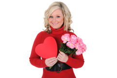 Young Woman Holding a Paper Heart and Roses. Stock Image