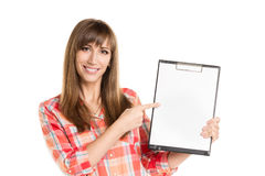 Young woman holding paper sheet isolated on white Stock Image