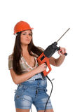 Young woman holding perforator drill Royalty Free Stock Photography