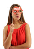 Young Woman Holding Photo Booth Prop. Close up Young Pretty Woman in Red Sleeveless Shirt Holding Funny Eyeglass with Mrs Text Photo Booth Prop. Isolated on stock photos