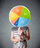 Young woman holding a pie chart Royalty Free Stock Images
