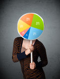 Young woman holding a pie chart Stock Images
