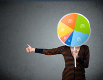Young woman holding a pie chart Stock Photography