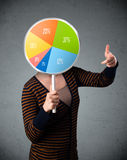 Young woman holding a pie chart Royalty Free Stock Image