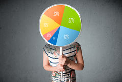 Young woman holding a pie chart Royalty Free Stock Photos