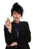 Young woman Holding Pills Royalty Free Stock Images