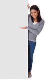 Young Woman Holding Placard Stock Images