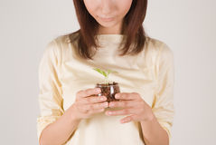Young woman holding plant. Young woman holding potted plant Stock Images