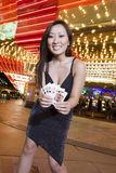 Young Woman Holding Playing Cards Royalty Free Stock Photography