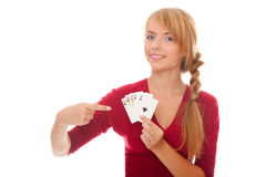 Young woman holding poker card of Full House Royalty Free Stock Image