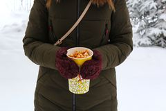 Young woman holding popcorn in winter, in mittens stock image