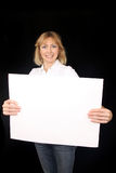 Young woman holding poster Royalty Free Stock Photos